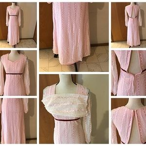 Pink Pioneer 3/4 Sleeve Lined Lace Maxi Dress Vtg